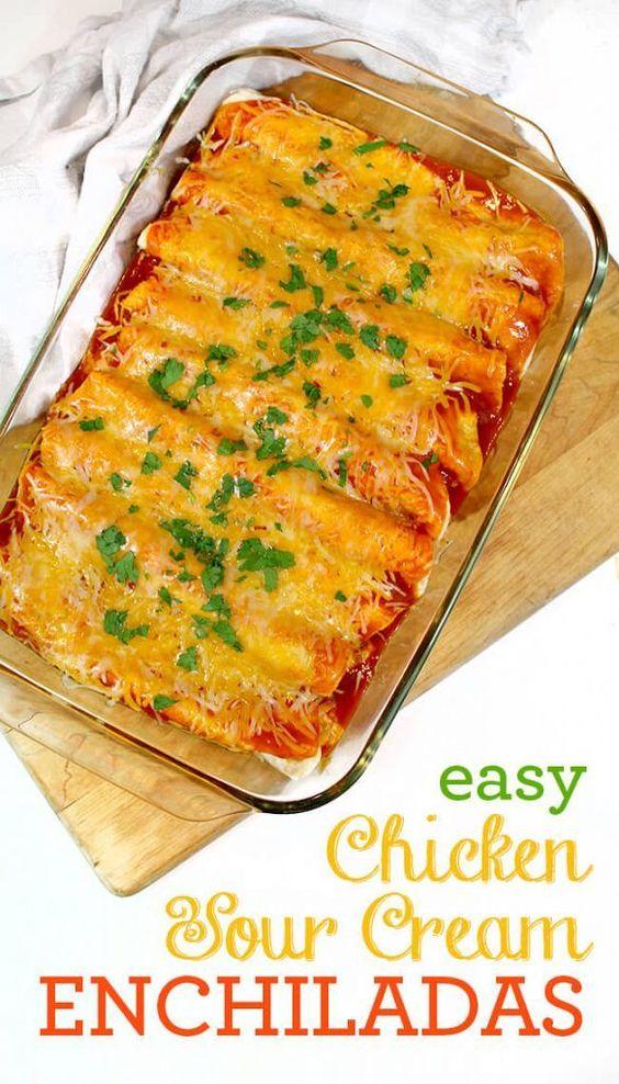 EASY CHICKEN SOUR CREAM ENCHILADAS YOUR FAMILY WILL LOVE #easyrecipes #chicken #chickenrecipes #sour #cream #enchiladas #dinner #dinnerrecipes #dinnerideas