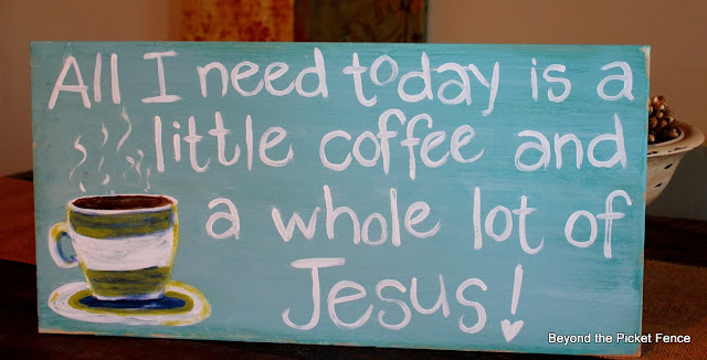All I need is Jesus hand painted sign http://bec4-beyondthepicketfence.blogspot.com/