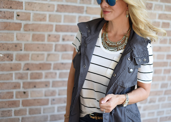 Outfit Inspiration | Striped top and ripped skinny jeans & military vest