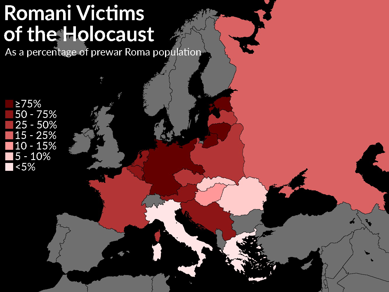 Romani victims of the Holocaust as a percentage of the pre-war population