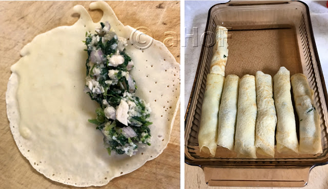 Filling crepes and arranging in casserole