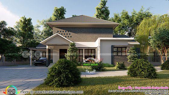 Sober colored 3 bedroom modern Kerala house design