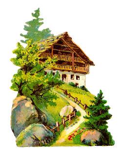 chalet image vintage illustration architecture clipart digital