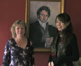 Rachel with Jenni Waugh and Mr Darcy in the Regency tearooms at the Jane Austen Centre in Bath