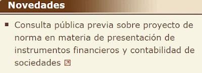 Consulta pública previa sobre el proyecto de norma contable en materia de presentación de instrumentos financieros y otros aspectos contables relacionados con la regulación mercantil de las sociedades de capital