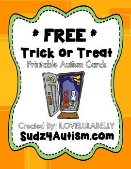 Sudz4autism Free Printable Trick Or Treat Autism Cards