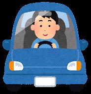 運転している男性のイラスト(笑顔)
