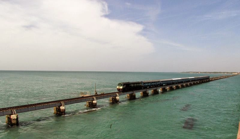 Boat Mail Enters the Pamban Bridge.