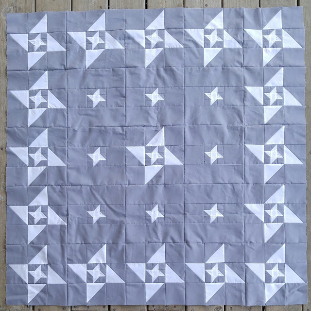 Gray and yellow friendship star quilt
