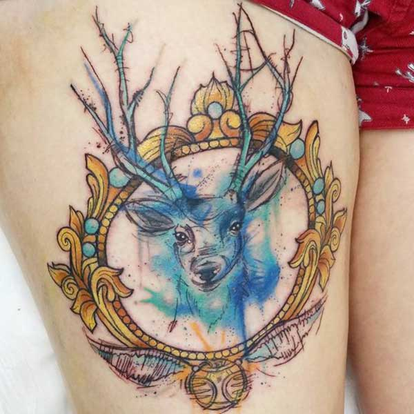 abstract deer tattoo