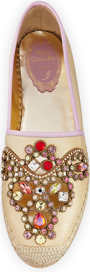 Rene Caovilla Crystal-Embellished Leather Espadrille