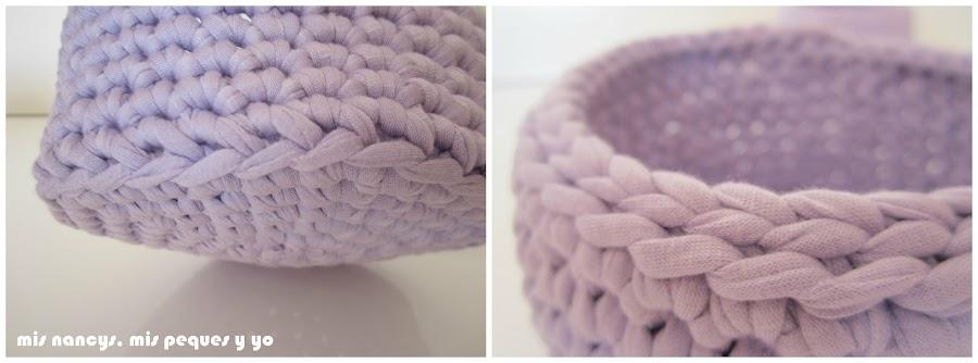 mis nancys, mis peques y yo, cestas redondas de trapillo con fundas de tela, detalle de remates