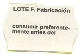 etiqueta lote de fabricación