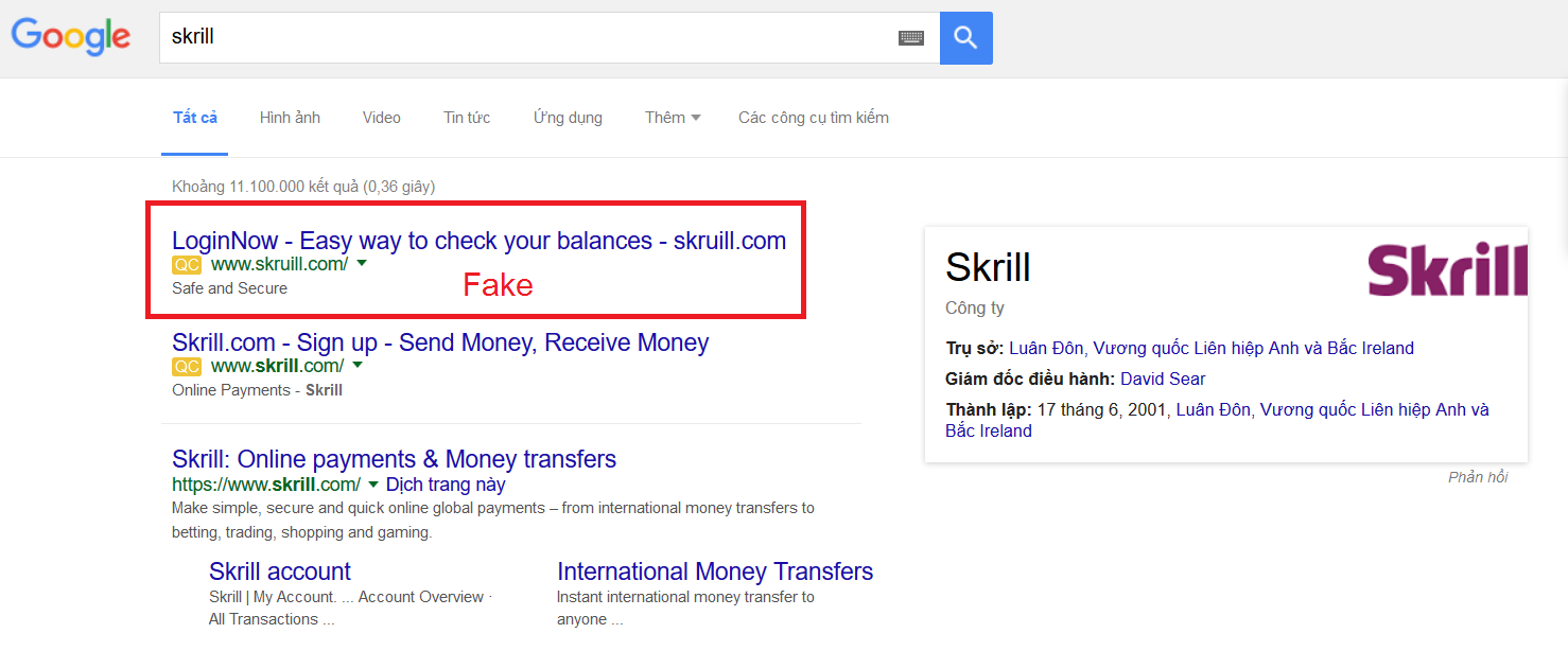 Website Skrill Giả Mạo