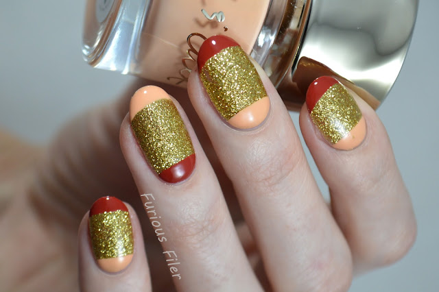 french half moon nails red nude textured glitter