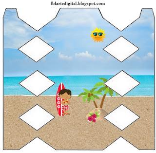 Cajas de Fiesta Hawaiana de Chicas para imprimir gratis.