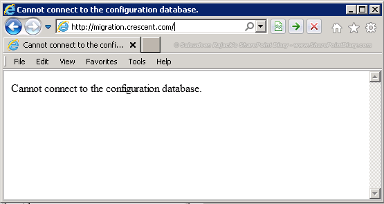 Cannot connect to the configuration database Error