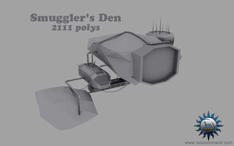 Smuggler den spacestation 3d model free download space station base motherbase hideout pirate lawless scifi futuristic asteroid ship pipes hangar