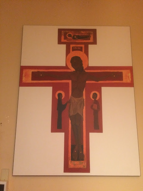 painting of jesus on the cross, in the chapel of Holy Trinity Anglican Church, Edmonton. Photo by rob goetze