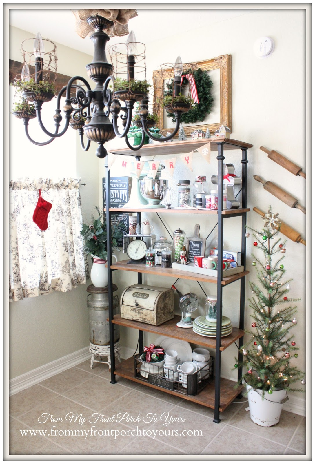 Industrial Bookcase-French Farmhouse Christmas Kitchen- From My Front Porch To Yours