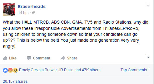What the H#LL MTRCB, ABS CBN, GMA, TV5 and Radio Stations, why did you allow these irresponsible Advertisements from Trillanes/LP/RoRo, using children to bring someone down so that your candidate can go up??? This is below the belt! You just made one generation very very angry!