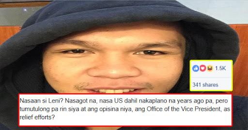 Netizen, dinepensahan si VP Robredo sa kaniyang US trip: NASAAN SI DUTERTE? Diba siya naman ang presidente?
