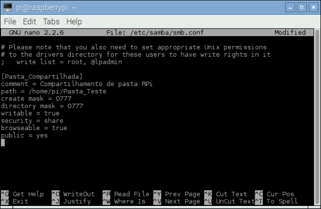 Configuração SAMBA Raspberry Pi