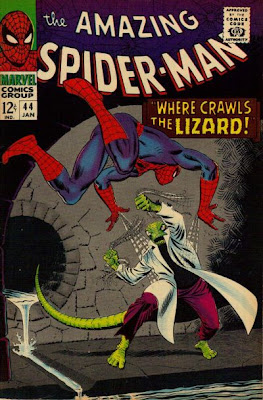Amazing Spider-Man #44, Spidey confronts the Lizard in a sewer tunnel, cover by John Romita