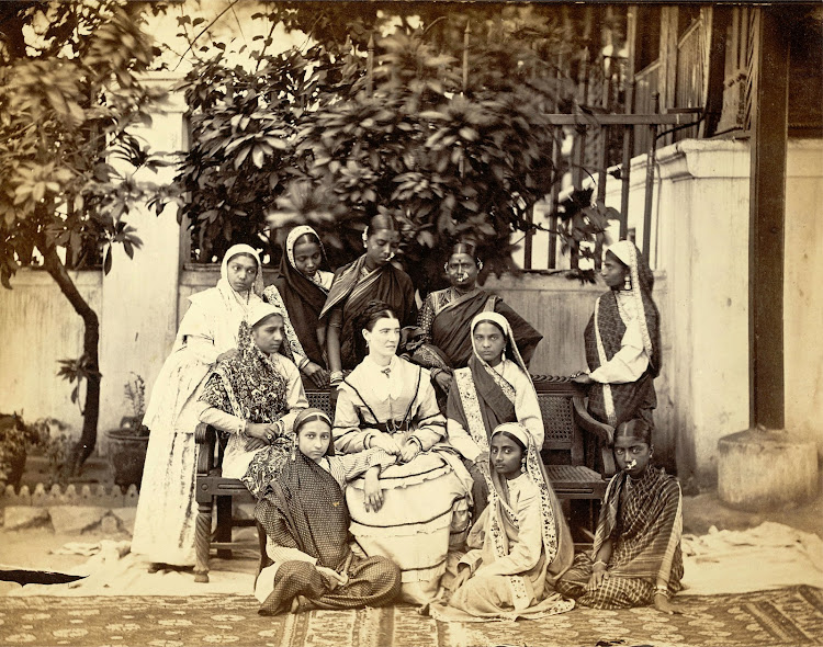 European Teacher and Students Bombay (Mumbai) - 1873