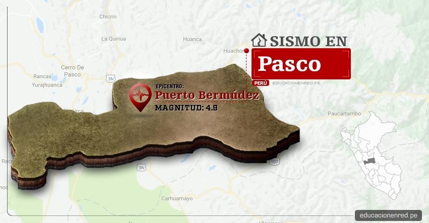 Temblor en Pasco de 4.9 Grados (Hoy Jueves 30 Marzo 2017) Sismo EPICENTRO Puerto Bermúdez - Oxampampa - IGP - www.igp.gob.pe