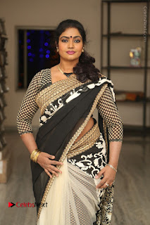 Telugu Actress Jayavani Jayavani Stills in Black Saree at Intlo Deyyam Nakem Bhayam Success Meet  0019.JPG