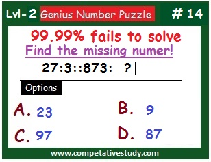 Number Puzzle: Find the missing number: 27 : 3 :: 873 : ?