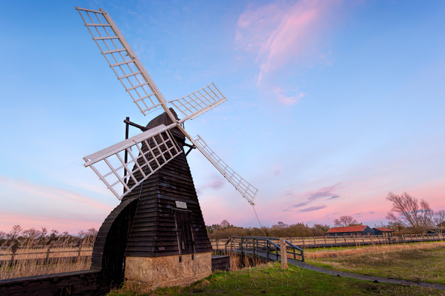 Wooden wind pump at Wicken Fen Nature Reserve in the East Anglian Fens
