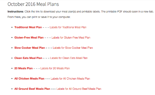 freezer meal plans