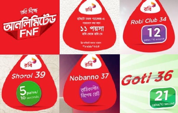 Robi Call Rate or Tariff Plan for all Prepaid Packages
