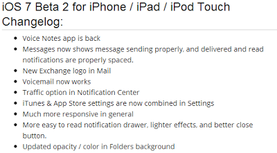 Apple iOS 7 Beta 2 Changelog