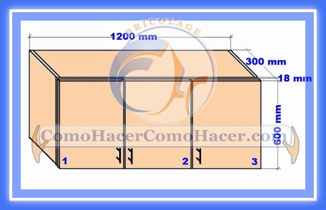 Plano mueble cocina alacena de melamina detalles del for Planos muebles de cocina para armar