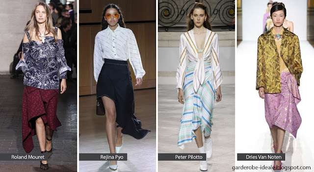 Асимметричные юбки с воланами на подиуме показ весна лето 2018