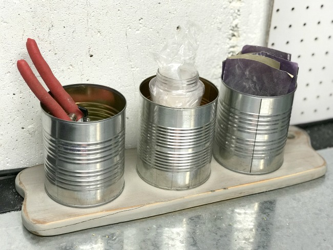 Tin Can Organizer for the Workshop