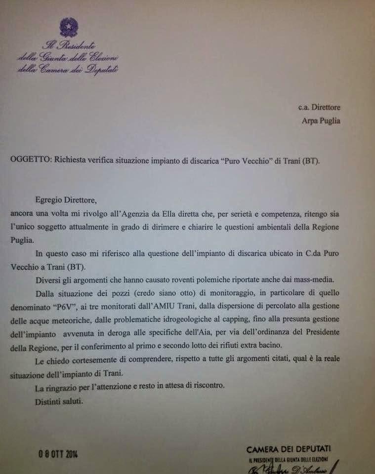 Richiesta ARPA Puglia