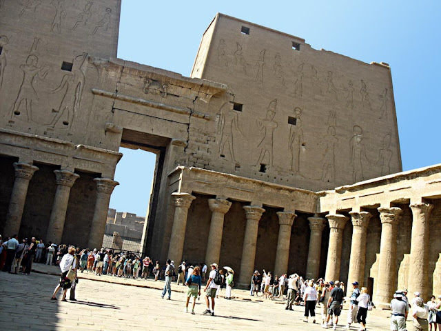 edfu temple hall in city of edfu on the banks of the river nile in egypt