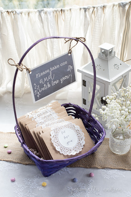 "Rustic and romantic spring bridal shower | Seed packet take home favors in kraft envelopes decorated with a paper doily printed with ""let love grow"" 
