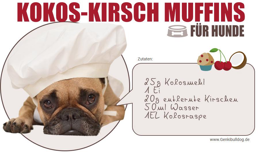 Hundekuchen Rezept getreidefreie Kirsch Kokos Muffins mit Kokosmehl für Hunde backen