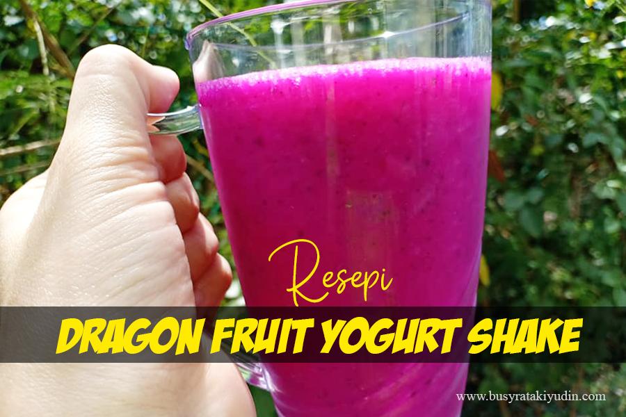 resepi dragon fruit yogurt shake, buah naga, yogurt nestle, diet, madu,