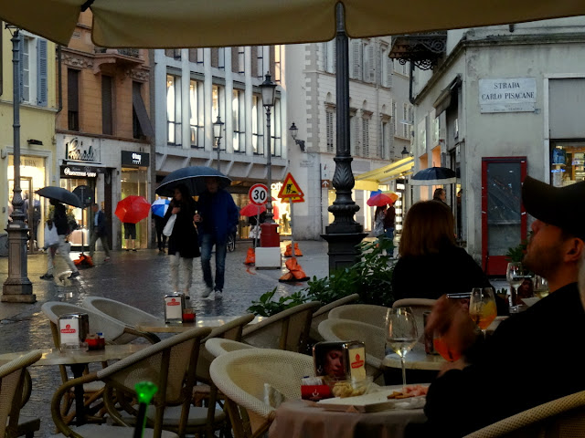 Outdoor terrace Gran Caffe Cavour in Parma, Italy