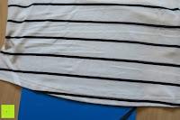 nicht durchsichtig: Yidarton Damen Crew Neck Base Gestreiftes Kurz Spaltung Casual T-Shirt Top Bluse