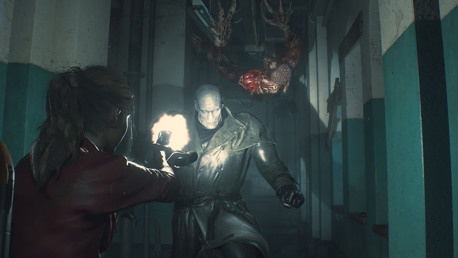 resident evil 2 remake claire redfield mr x licker screens