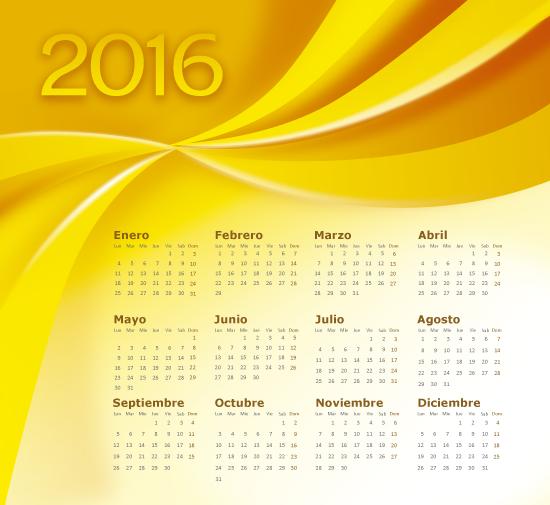 Calendario 2016 en español abstracto dorado