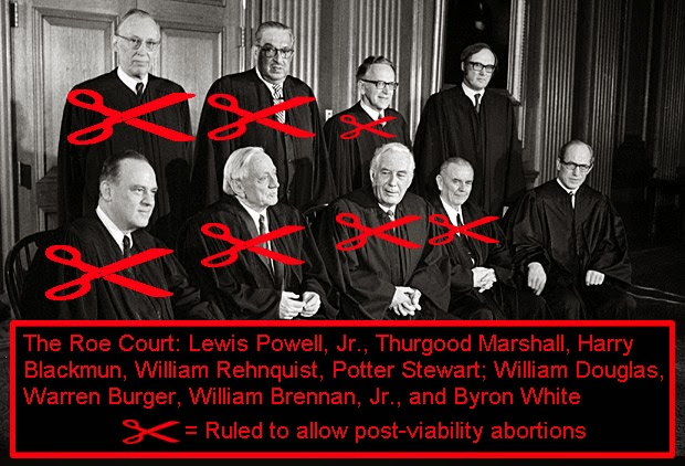 The Roe Court: Lewis Powell Jr., Thurgood Marshall, Harry Blackmun, William Rehnquist, Potter Stewart, William Douglas, Warren Burger, William Brennan Jr., and Byron White. Seven voted to allow post-viability abortions.