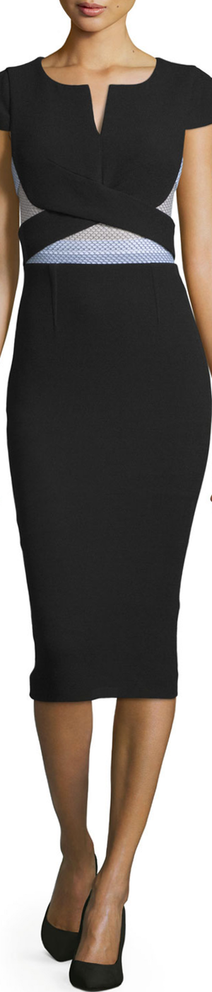 Roland Mouret Contrast-Waist Cap-Sleeve Midi Dress, Black